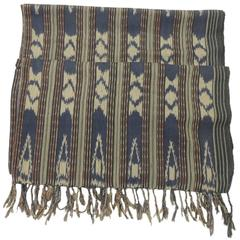 Large Stripe Tribal Pattern Textile Ikat Panel with Hand-Knotted Fringes