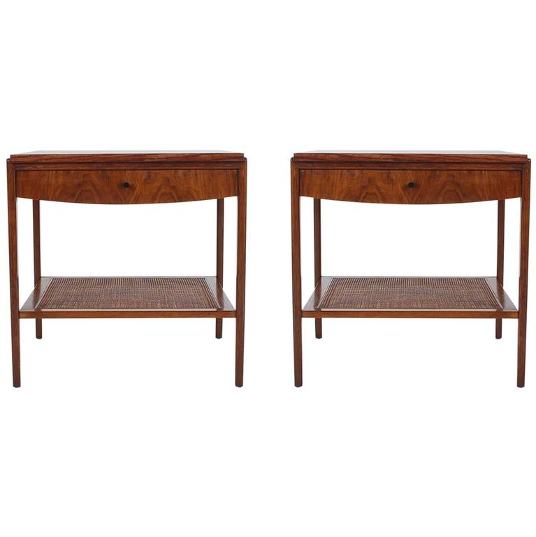 Mid Century Modern Walnut And Cane End Tables Or Nightstands By John  Widdicomb For Sale