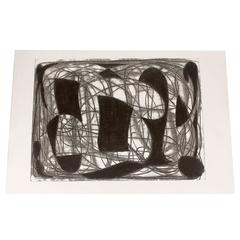 Alwin Carstens Contemporary Modern Abstract Woodblock Lithography, circa 1960s