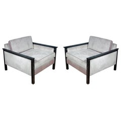 Pair of Cerused Frame Club Chairs