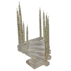 "1970'S Lucite Sculptural ""Spiral Staircase"" 12-Light Candelabra"
