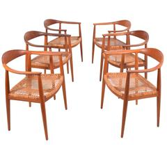 "Hans Wegner Set of Six ""501"" Armchairs for Johannes Hansen"