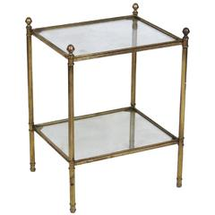 Directoire Style Brass & Glass Side Table