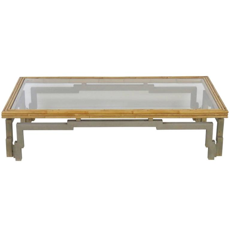 Modern Asian Style Bamboo And Metal Coffee Table For Sale At 1stdibs