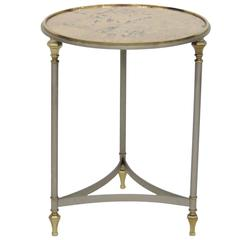 Jansen Style Chrome & Brass Glass top Side Table