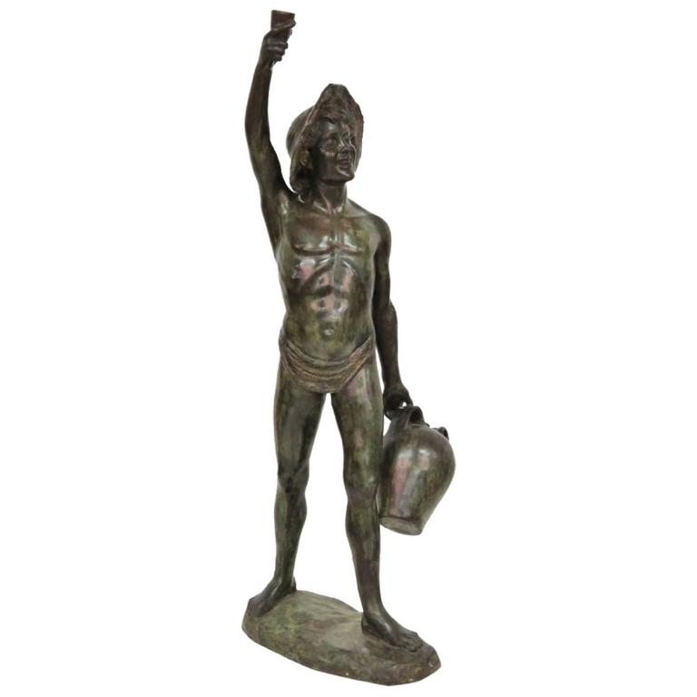 Bronze sculpture boy with water jug for sale at 1stdibs - Bronze sculptures for sale ...