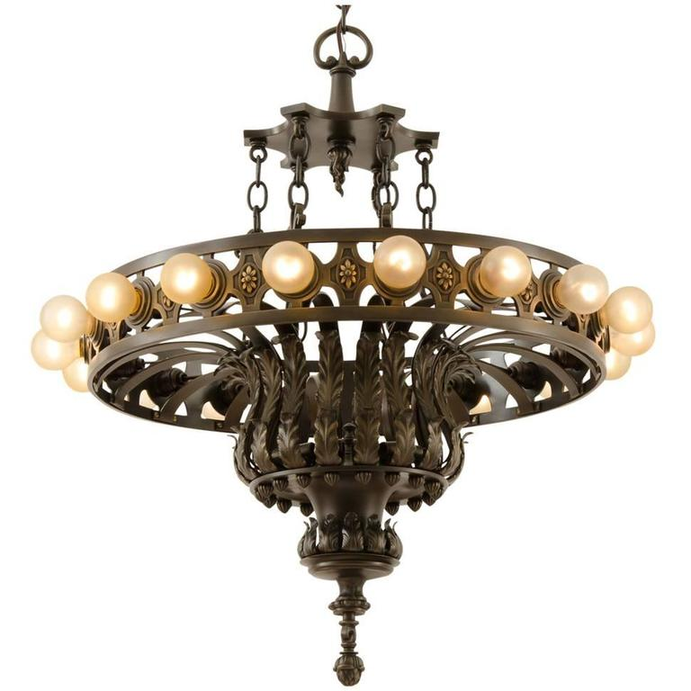 Enormous bronze eighteen light classical revival chandelier circa 1920 for sale at 1stdibs - Circa lighting chandeliers ...