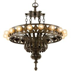 Enormous Bronze Eighteen-Light Classical Revival Chandelier, circa 1920
