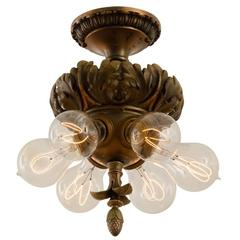 Caldwell-Style Classical Revival Flush Fixture with Acanthus Motif, circa 1903
