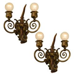 Exceptional Antler and Hand-Wrought Brass Sconces, circa 1905