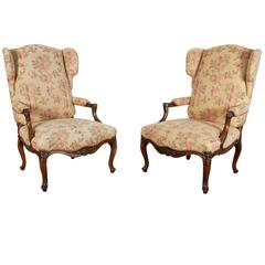 Pair of Louis XV Style Walnut Wing Chairs