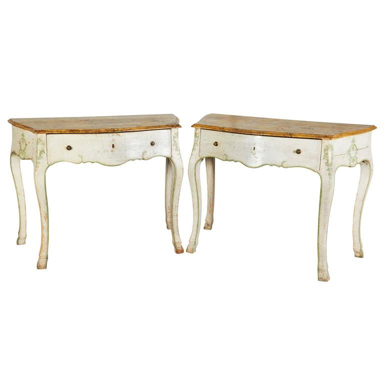 Pair of 19th Century Louis XV Style Painted Console Tables