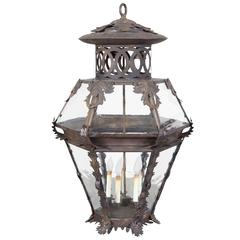 Large-Scale Patinated Iron and Glass Lantern