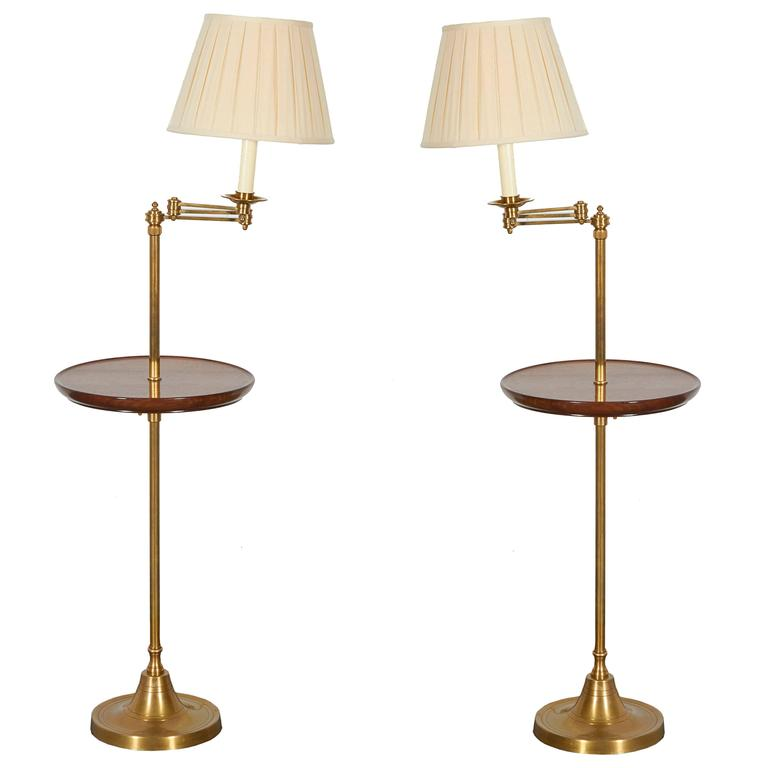 Incroyable Mahogany And Brass Standing Lamp Tables For Sale