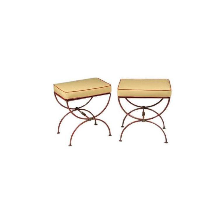 Pair of French 1930s Modern Neoclassical Stools by Jean-Charles Moreux