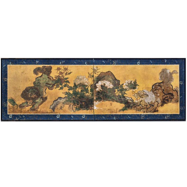 Antique Japanese Two Panel Karashishi Screen, Edo Period, circa 17th Century 1