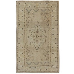 Vintage Turkish Rug in Neutral Tones in Taupe and Brown Highlights