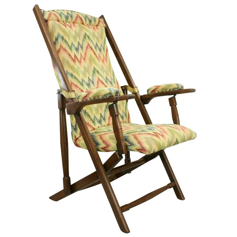 Campaign Folding Deck Chair For Sale at 1stdibs