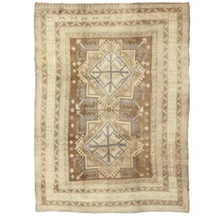 Vintage Turkish Oushak in Light Brown, Camel, Blue/Lavender and Cream
