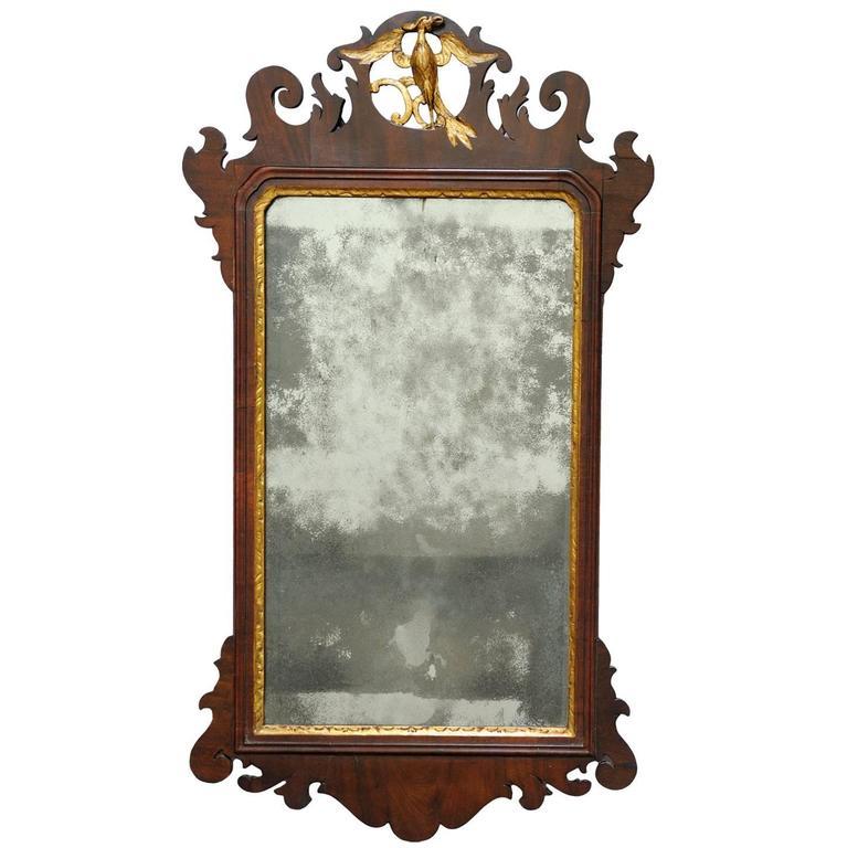 English George III Mahogany Giltwood Chippendale Style Fret Mirror, circa 1750