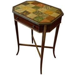 Rare Regency Gilt Mounted Occasional Table with Painted Top, circa 1790-1810
