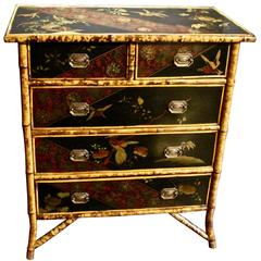 Victorian Black Lacquer and Japanned Chest of Drawers, circa 1890