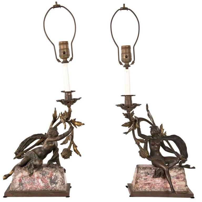 Pair of Neoclassical Bronze and Marble Table Lamps 1