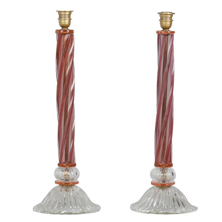 Pair of Mid-Century Tall Murano Glass Lamps