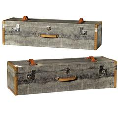 Travel Cases in Faux Crocodile Shagreen