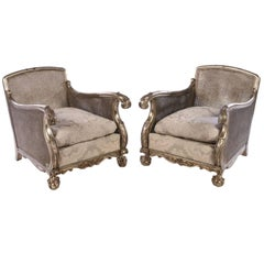 Grand and Elegant Pair of Carved Fauteuils