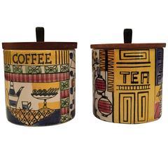Stig Lindberg Ceramic Coffee and Tea Jugs Jars with Teak Lid Gustavsberg, Sweden