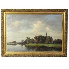 Exceptionally Large Early 20th Century Dutch Landscape Painting