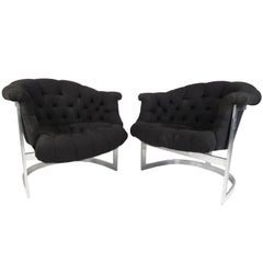 Mid-Century Modern Tub Style Lounge Chairs in the Manner of Milo Baughman, Pair