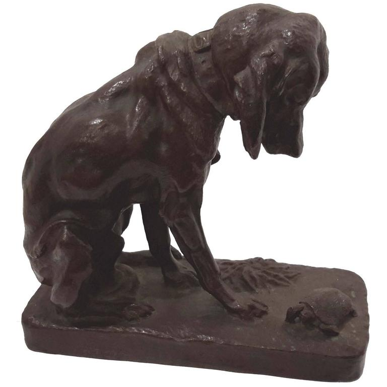 Antoine Louis Barye Bronze Sculpture Of Hound Dog And