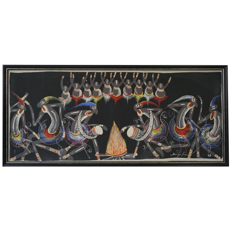 African Painting from Congo 1950s For Sale