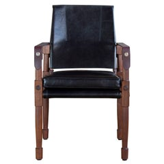 Chatwin Dining Chair in Oiled Walnut and Black Leather