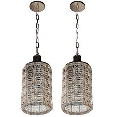 Pair of Mid-Century Modern Glass and Chrome Pendants by Carl Fagerlund