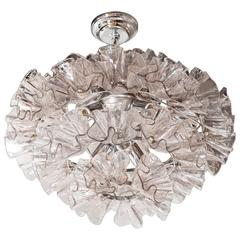 Midcentury Murano Chandelier with Smoked Handblown Glass Floral Elements