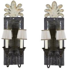 Pair of Mirror-Backed Antiqued Wood Sconces