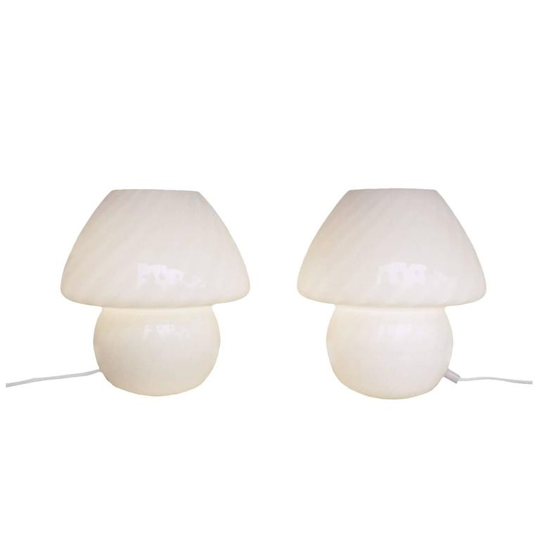 Pair of Murano Glass Mushroom Table Lamps, 1960s