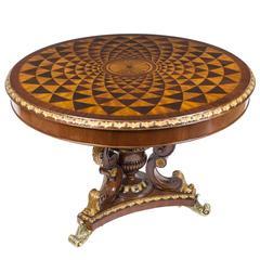 """Mahogany Parquetry & Ormolu """"Trompe L'oeil"""" Centre Table"""