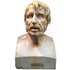 Stunning White Carrara Marble Seneca Bust from the 19th Century