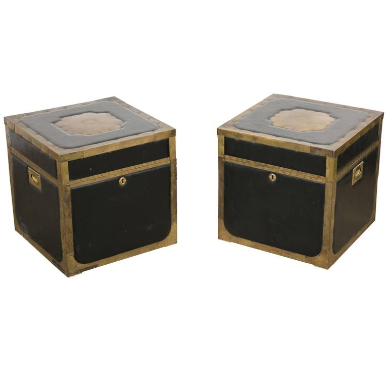 Attractive Pair of Leather and Brass Trunk Tables For Sale