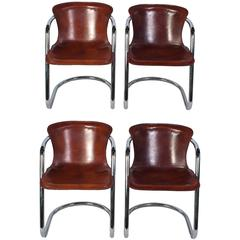 Set of Willy Rizzo Dining Chairs with Cognac Leather