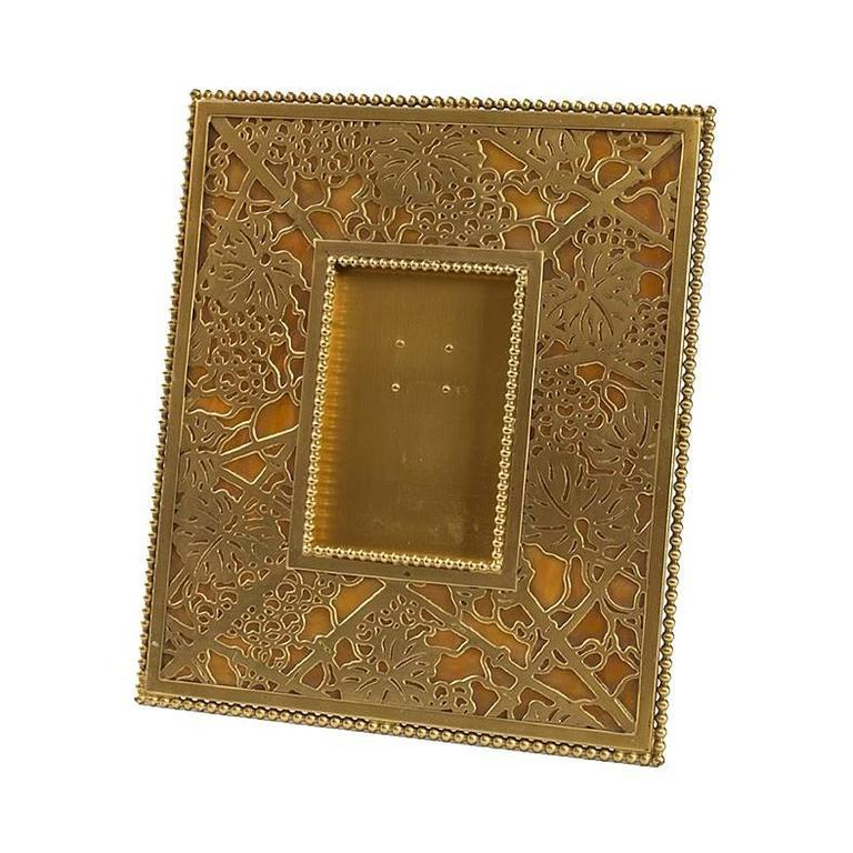 Tiffany Studios New York Grapevine Pattern Bronze Picture Frame At