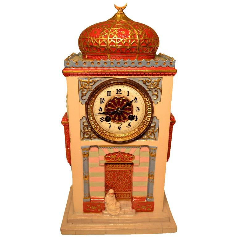 Unusual orientalist porcelain desk or mantel clock of a Unusual clocks for sale