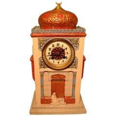 Unusual Orientalist Porcelain Desk or Mantel Clock of a Musk