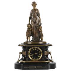 Fine Napoleon III Bronze Figural Slate Antique Mantel Clock by Japy Freres