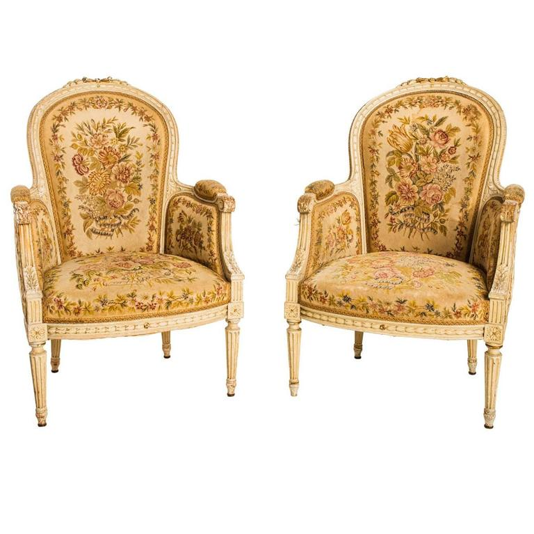 Needlepoint Bergères Chairs For Sale