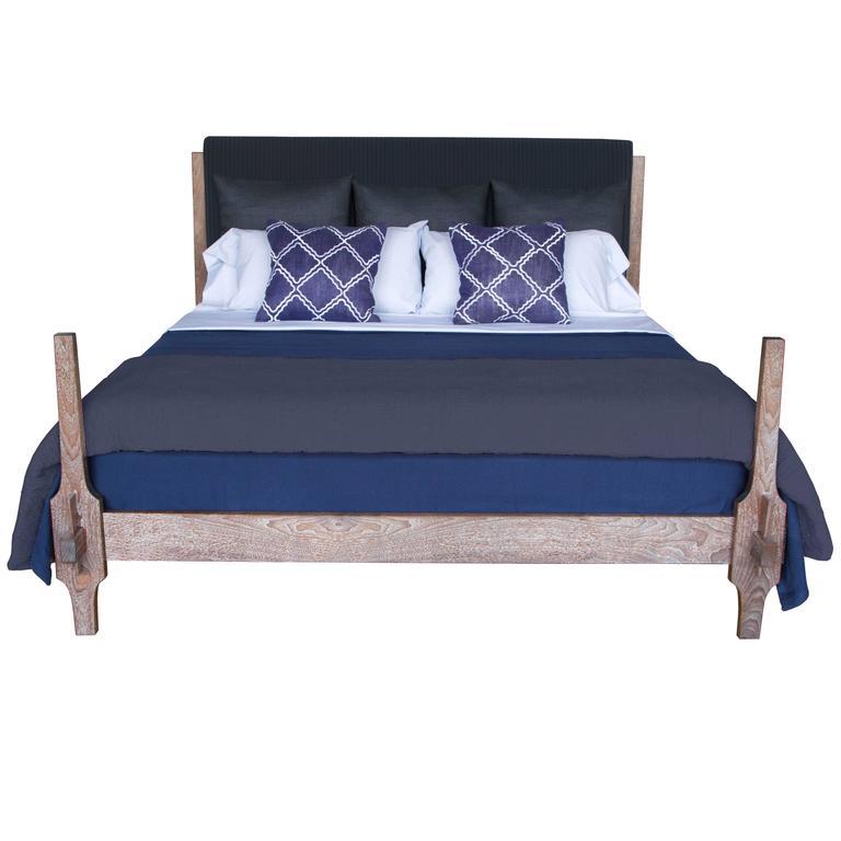 King-Sized Greydon Bed in Limed Walnut